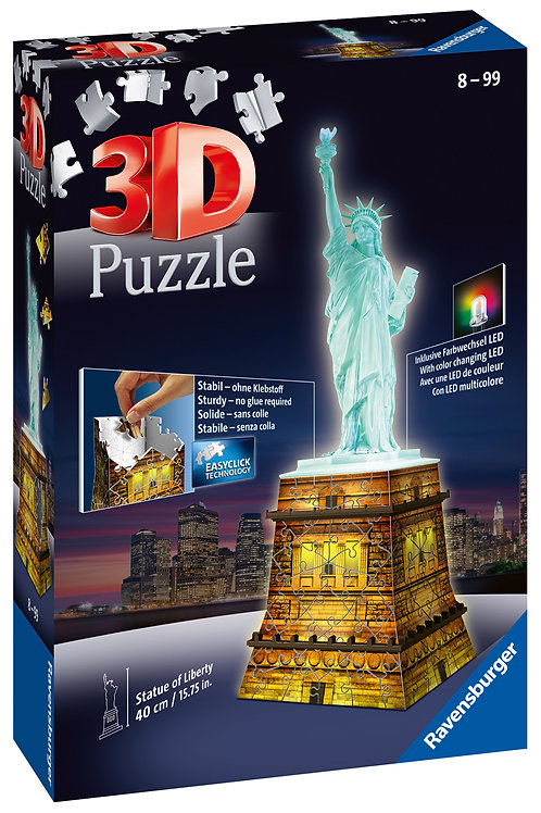 Ravensburger Statue of Liberty Night Edition 3D Puzzle, 216pc  Jigsaw Puzzle