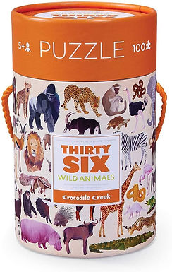 Crocodile Creek Thirty-Six Wild Animal 100 piece Jigsaw Puzzle in Canister
