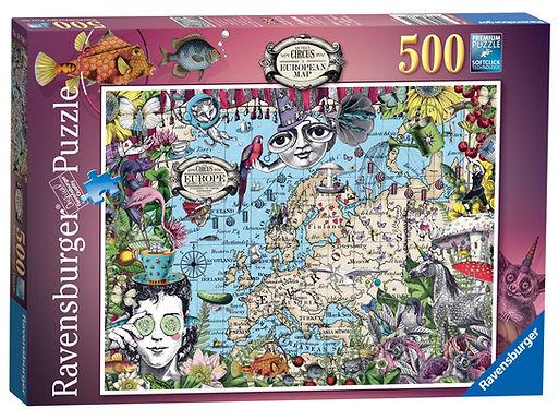 Ravensburger European Map, Quirky Circus, 500pc Jigsaw Puzzle