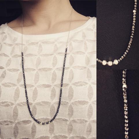 Sautoir en Hematites, argent 925 et perles
