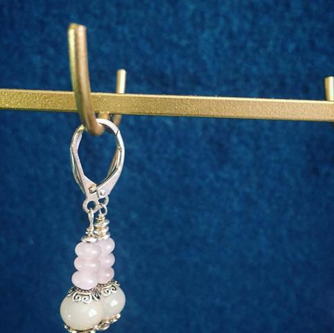 boucles d'oreilles quartz rose et pierre de lune