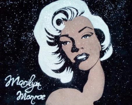 Картина в багете светящаяся в темноте, Мерилин Монро 300*300 мм