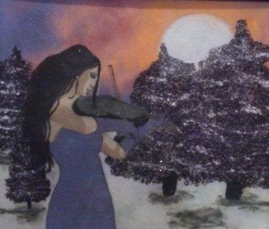 Картина в багете светящаяся в темноте, Скрипачка 300300 мм