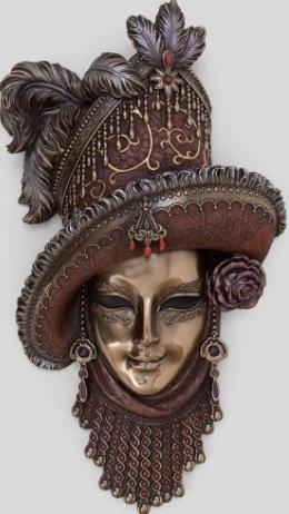 Панно на стену Венецианская маска Леди в шляпе 320*180 мм