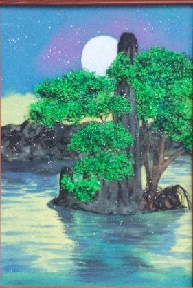 Картина в багете светящаяся в темноте. Дерево 300*200 мм
