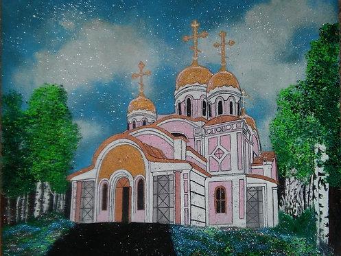 Картина в багете светящаяся в темноте, Церковь 400*400 мм