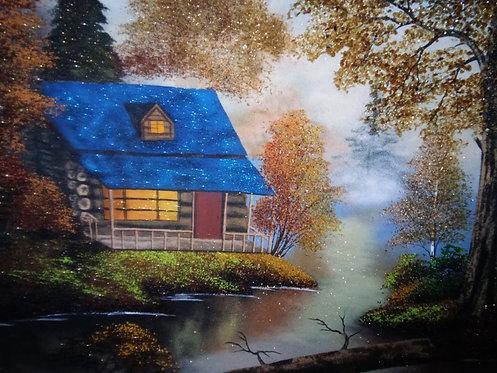 Картина в багете.Дом у реки 800*600 мм