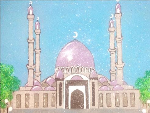 Панно в багете светящаяся в темноте, Мечеть
