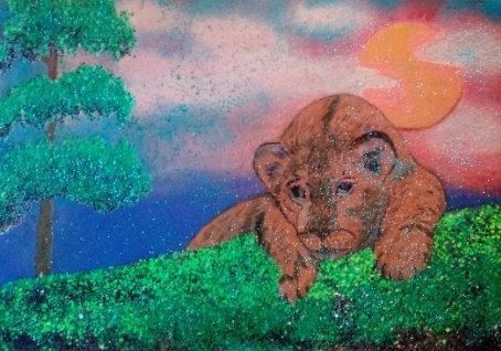 Картина в рамке светящаяся в темноте, Львенок 300*200 мм