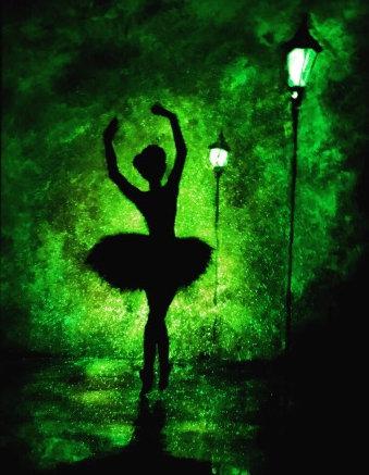 Картина в багете светящаяся в темноте, Балерина