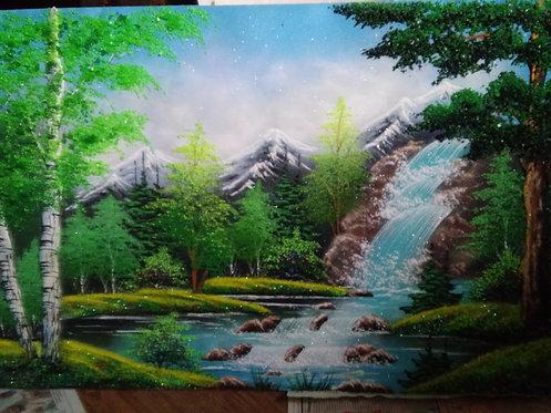 Картина в багете. Водопад 800*600 мм