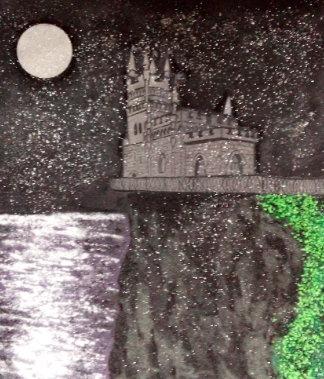 """Картина светящаяся в темноте, """"Ласточкино Гнездо ночью"""" 300*300 мм"""
