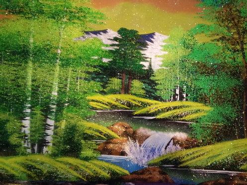 Картина в багете. Лето, водопад 800*500 мм