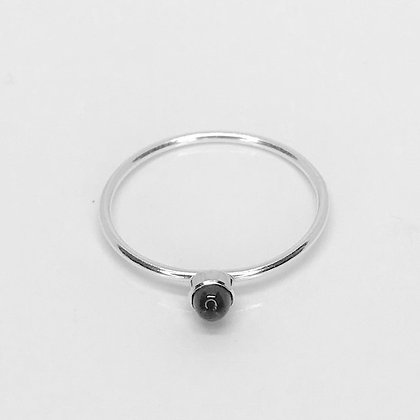 Blanche - Sterling Silver Ring with Black Onyx Stone