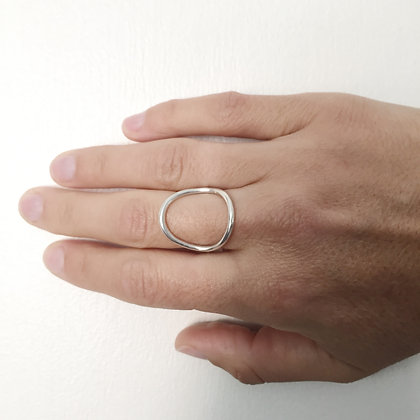 Neptune - Sterling Silver Large Open Oval Ring