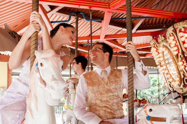 Newlyweds on carousel