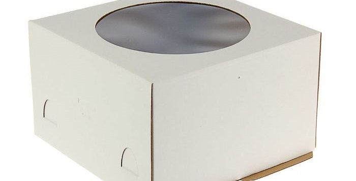 Коробка для торта белый с окном в ассортименте