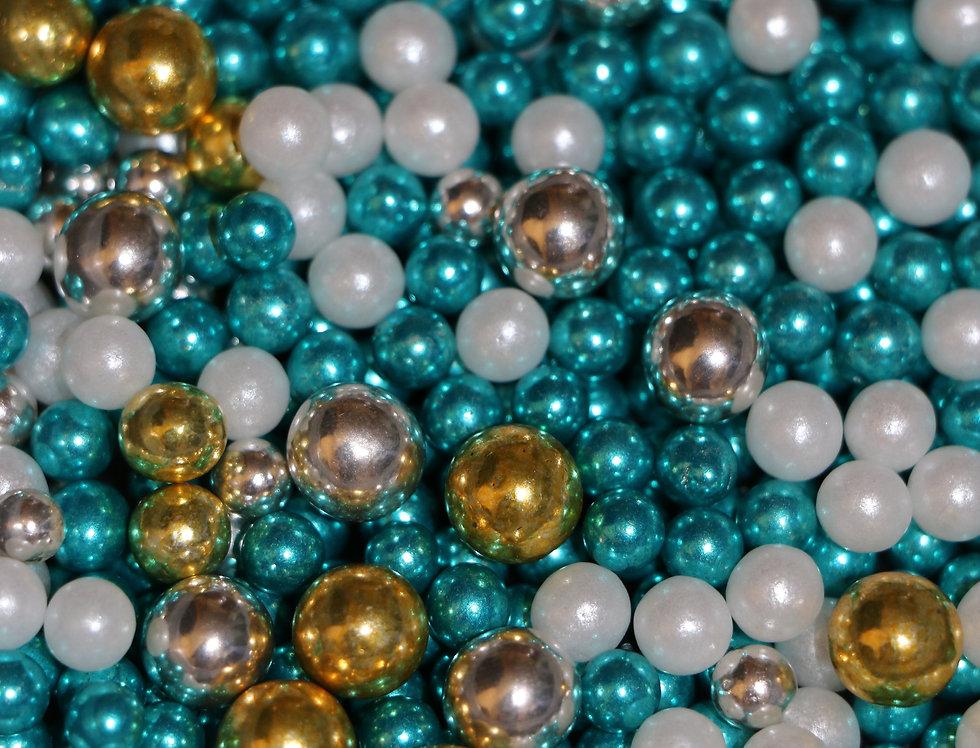 """Сахарные шарики ассорти 50гр """"Микс"""" №8 (жемчуг,серебро,золото,голубоые)"""