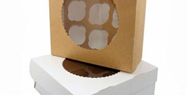 Короба для капкейков и маффинов с окном белые двухсторонние в ассортименте