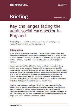 Key Challenges Facing the Adult Social Care Sector in England