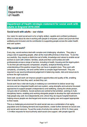 Department of Health Strategic Statement For Social Work With Adults 2016-2020