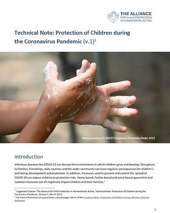 Technical Note: Protection of Children During The Coronavirus Pandemic (v.1)