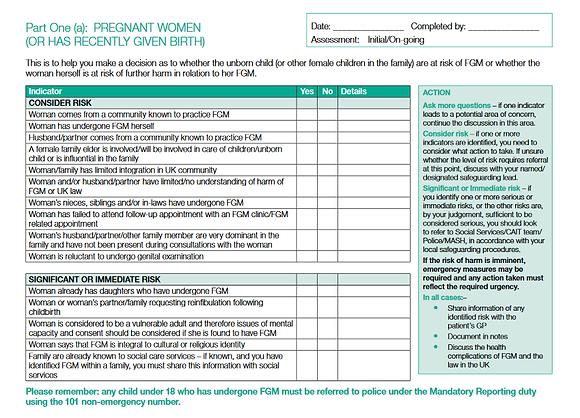 Female Genital Mutilation (FGM) Risk Assessment Template