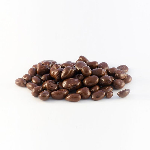 a glistening heap of Organic Fair Trade Dark Chocolate covered California raisins