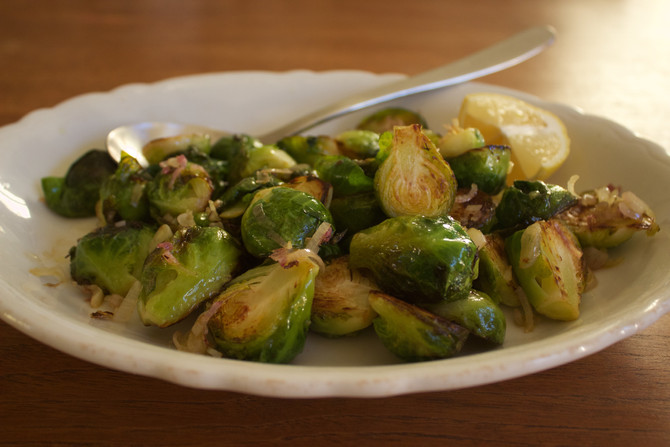 Pot-Stuck Brussels Sprouts