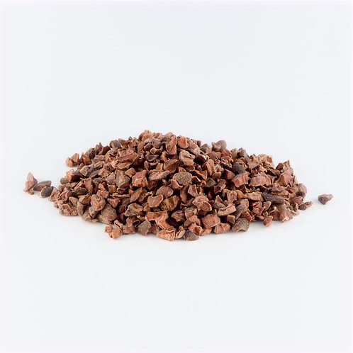 Heaped pile of Organic, Fair Trade, Raw Cacao Nibs
