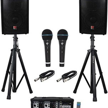PA System with microphone and 2 speakers.