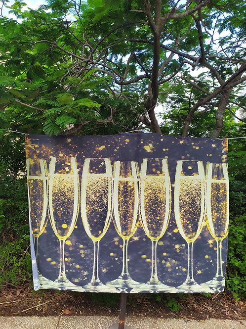 Champagne glasses backdrop