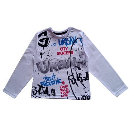 Camiseta Infantil Masculina - Urbana - Branca - Zhor Kids