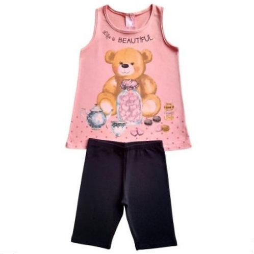 Conjunto Infantil Feminino - Urso 🐻 - Rosa - Kely Kety
