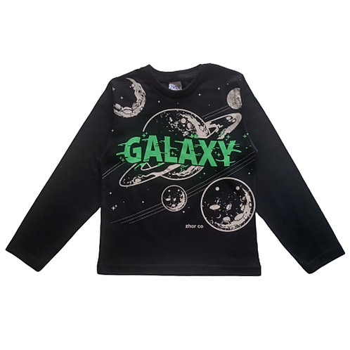 Camiseta Infantil Masculina - Galaxy - Preta - Zhor Kids