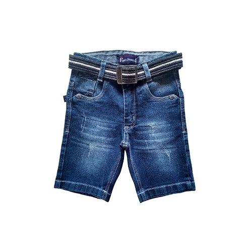Bermuda Jeans Infantil Masculina - Com Cinto - Azul