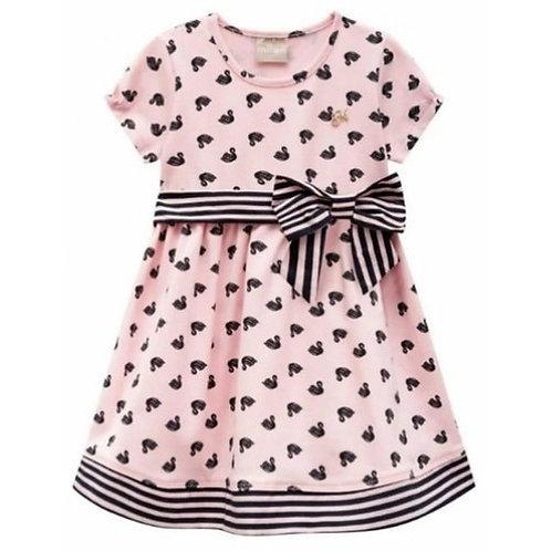 Vestido Infantil - Cisnes - Rosa - Milon