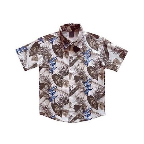 Camisa Manga Curta Infantil Masculina - Folhagem - Bege