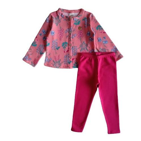 Conjunto Infantil Feminino - Flores - Rosa - Elian