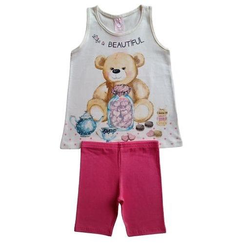 Conjunto Infantil Feminino - Urso 🐻 - Bege - Kely Kety