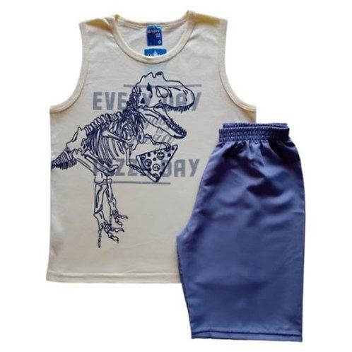 Conjunto Infantil Masculino - Dino Pizza 🍕 - Amarelo - WRK