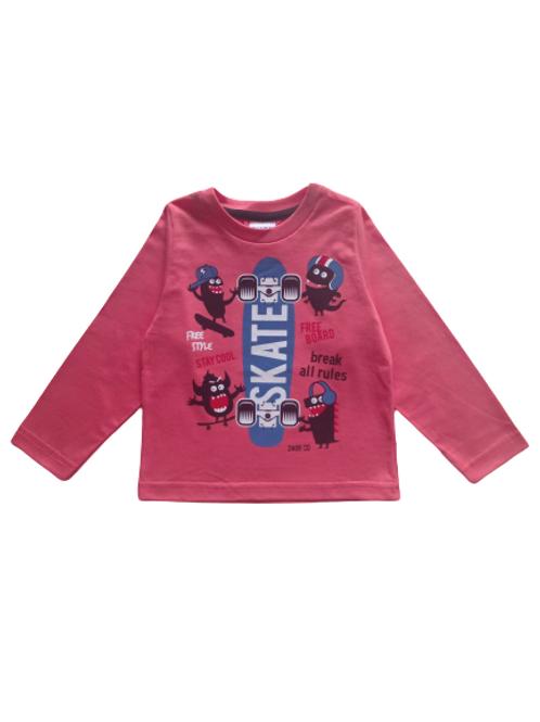 Camiseta Infantil Masculina - Skate - Coral - Zhor Kids