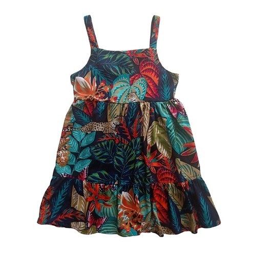Vestido Infantil Folhagem - Azul Marinho