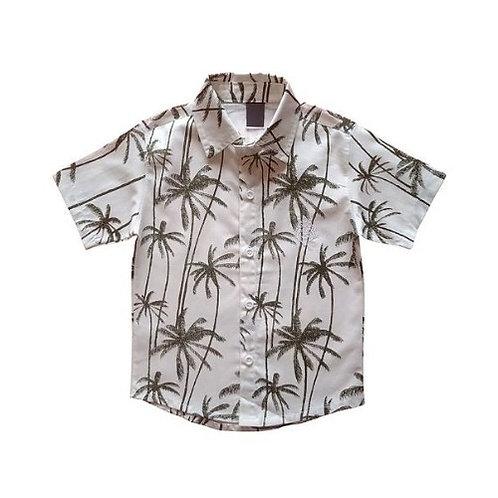 Camisa Manga Curta Infantil Masculina - Coqueiro - Off-white