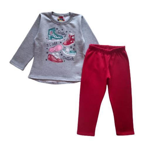 Conjunto Infantil Feminino - Sapatos - Cinza - Elian