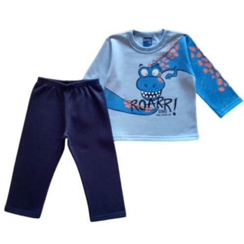 Conjunto Infantil Masculino - Dinossauro - Azul - WRK