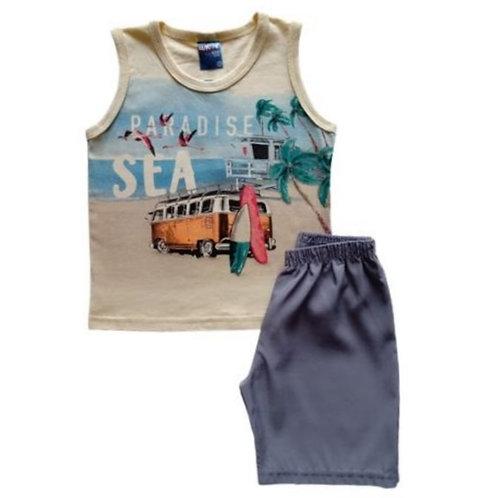 Conjunto Infantil Masculino - Praia - Amarelo - WRK