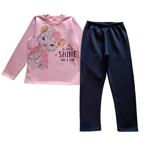 Conjunto Infantil feminino - Shine - Rosa - Kely Kety