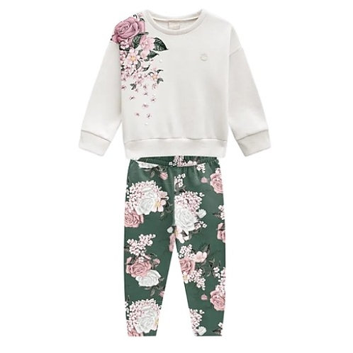 Conjunto Infantil  Feminino - Flores - Bege - Milon