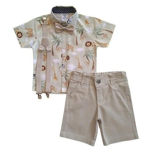 Conjunto Social Infantil Masculino - Safari - Verde Com Bege